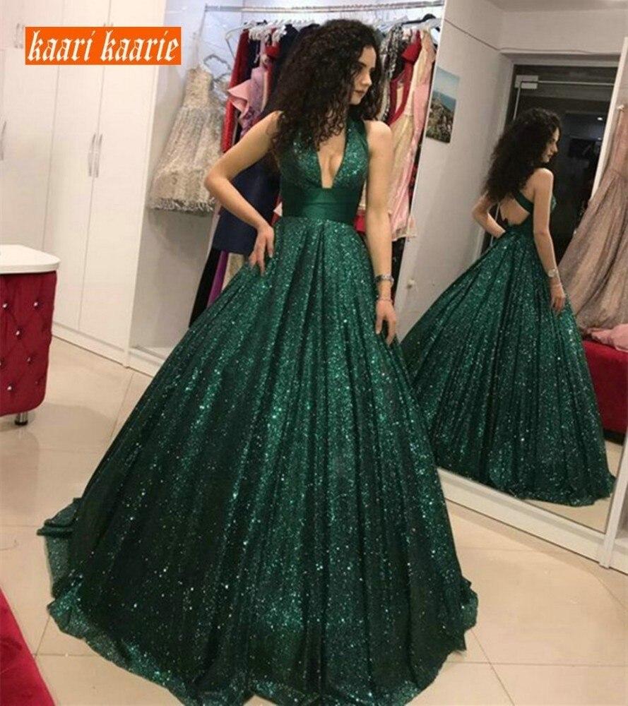 Dark Green Long Evening Dress 2021 Deep V Neck  robe de soirée femme Sequines Maxi Formal Dresses Women Custom Made abendkleider