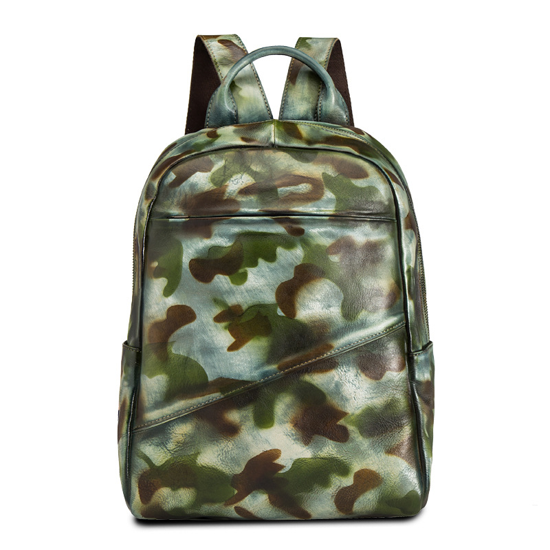 Genuine Leather Men Rucksack Brush Color School Knapsack Cowhide Military Camouflage Travel Bag Multi-Capacity Daypack BackpackGenuine Leather Men Rucksack Brush Color School Knapsack Cowhide Military Camouflage Travel Bag Multi-Capacity Daypack Backpack