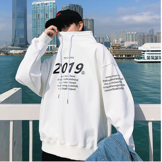 Men s Long Sleeve Spring New M-5XL Sweatshirt Letter High Round Neck Pullover Loose Joker Fashion Personality Casual Wear