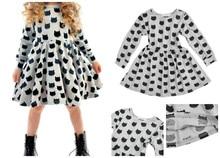 Cute Girls Kids Cartoon Cat Print Dress Long Sleeves Elastic Pleated Spring Autumn Dresses YJS Dropship