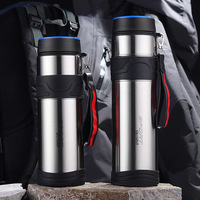 Soffe 1L Large Capacity Stainless Steel Sport Thermos Bottle Outdoor Camping Bullet Insulated Vacuum Flasks Thermos Water Bottle