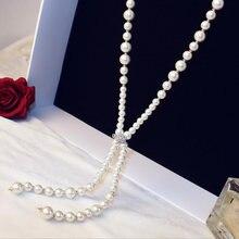Женское Ожерелье из искусственного жемчуга с кристаллами циркона