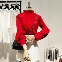 Korean Fashion Elegant Ruffled Lantern Sleeve Chiffon Blouses Women 2019 Spring White/Red Tops