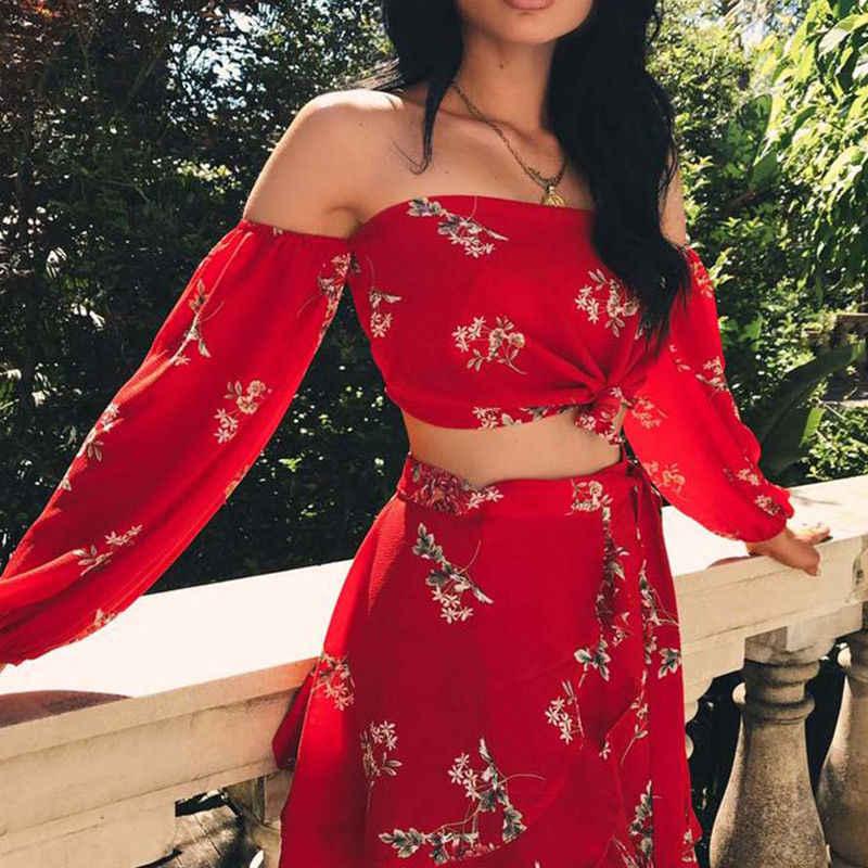 0eafa24a5232f Thefound New 2019 Fashion Women Dress 2 Piece Floral Chiffon Two Piece Crop  Top and Set Party Beach Dress