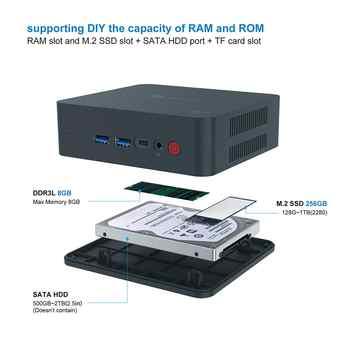 Beelink U55 Mini Pc Intel Core I3-5005U Processor(Intel Hd Graphics 5500), Ddr3L 8Gb Ram/256Gb Ssd/Diy Hdd 1000Mbps Lan 2.4/5.