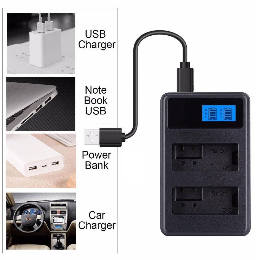 LCD Display PC Power Bank Car USB Dual Camera Battery Dock Charger For Canon NB-6L NB-12L LP-E6 E6N LP-E8 LP-E10 LP-E12 LP-E17