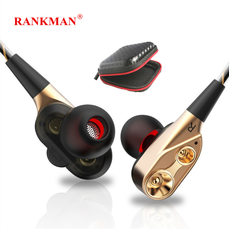 Rankman HiFi Earphone Sport Dual Driver Unit Earphones Stereo Bass Earbuds With Mic for Apple Xiaomi MP3 цена