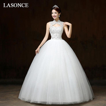 LASONCE Crystal Flowers High Neck Lace Appliques Ball Gown Wedding Dresses Illusion Tank Backless Bridal Gowns