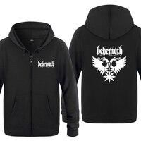 Behemoth Punk Rock Band Sweatshirts Men 2018 Mens Zipper Hooded Fleece Hoodies Cardigans