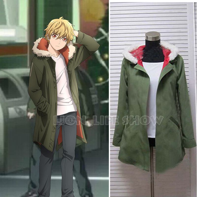 Anime Noragami Yukine Olive green Hooded Jacket Cosplay Costume S XL unisex