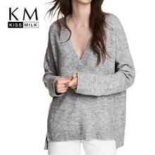 Kissmilk Plus Size Deep V-neck autumn simple popular loose oversized pullover sweater