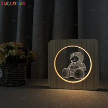 Bedroom Table Lamp Cartoon Bear 3D Night Light 7 Colors Change LED Touch Lamp for Kids Gift недорого