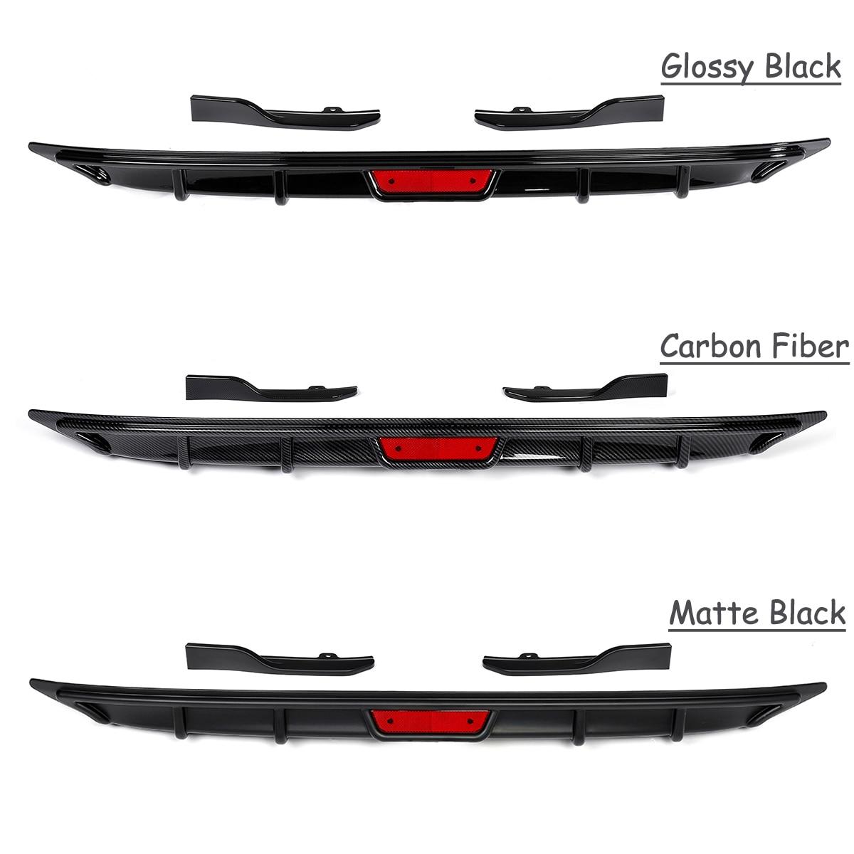 Fit For Honda For Accord 2018 Rear Bumper Chin Cover Lip Diffuser Side Spoiler Wing Matte Black/ Glossy Black/ Carbon Fiber