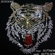 ZOTOONE Rhinestones Crystal Clear Hotfix Rhinestone Tiger Applique for Clothes Decoration Strass Para Artesanato Needlework