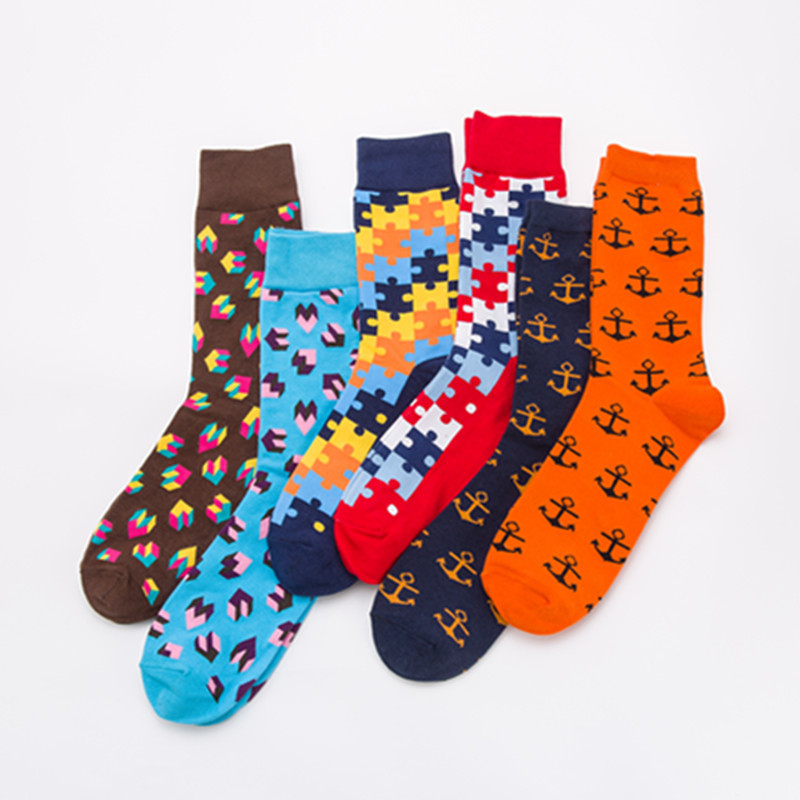 Men Socks Fashion Colorful Jigsaw Love Anchors Funny Skate Happy Casual Cotton Socks Harajuku Hip Hop Street Style Male Autumn