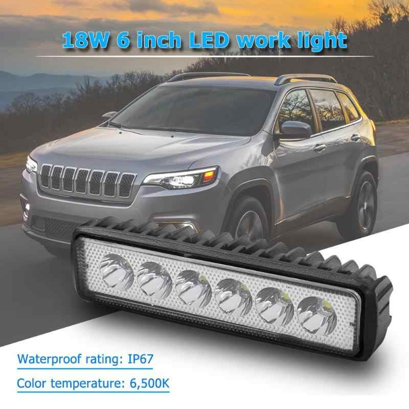 18W 6 inch Motorcycle electric vehicle LED Work Light Bar Flood Offroad Car Boat Truck Driving Fog Automobile Headlamp Work Lamp