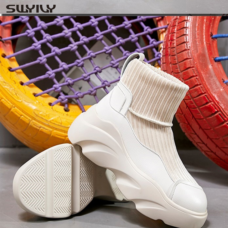 SWYIVY New Solid Sock Shoes High-top Women Sneakers 2019 Female Shoes Fashion Women's Sneakers Platform Wedges Shoes For Women