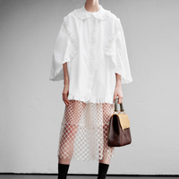 [EAM] 2020 New Autumn Winter Lapel Long Sleeve White Ruffles Stitch Lace Loose Temperament Shirt Women Blouse Fashion Tide JS674