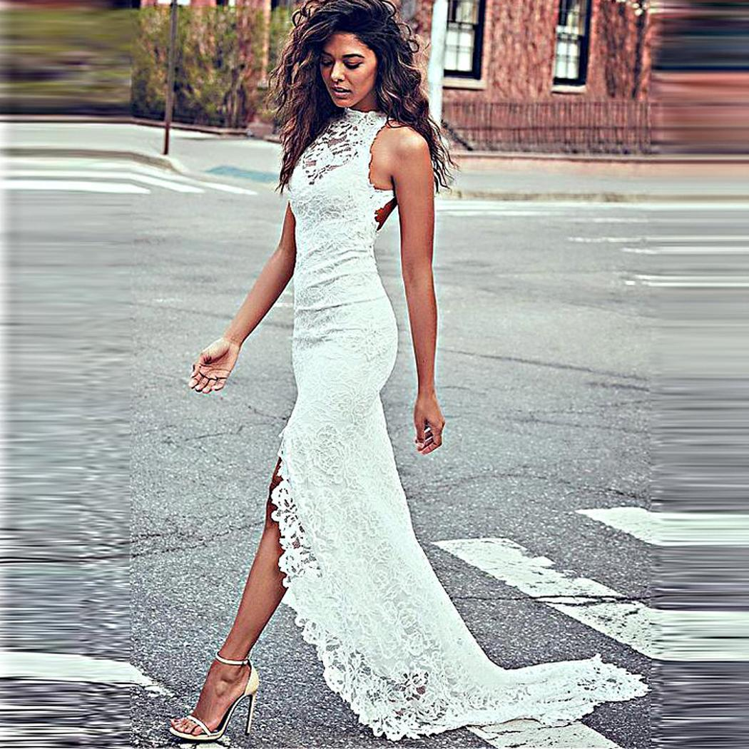 AL'OFA White Long   Dress   Sexy   Evening     Dress   Sleeveless Lace Floral See Through Party Proms Formal   Dresses   for Woman