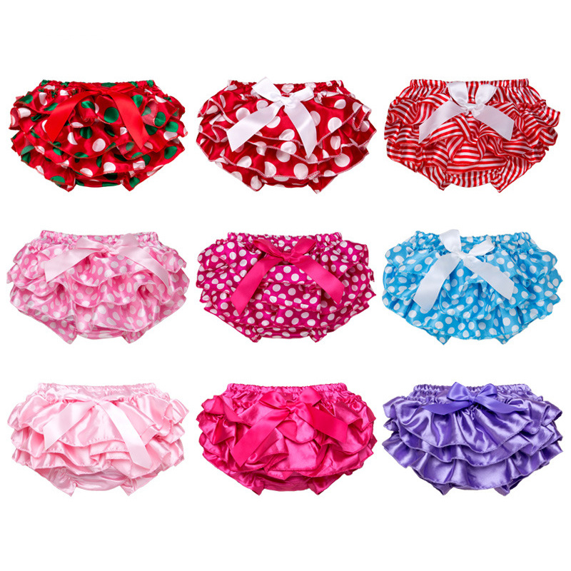 Baby Ruffles Bloomers PP Shorts Cute Layers Girl Dot Print Bow Short Pants Newborn Diaper Covers Infant Bottom Panties Underwear