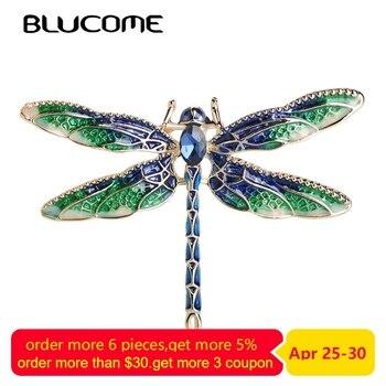 f680fc900088 Blucome verde de esmalte libélula volar broches de aleación de Zinc de  insecto broche para mujer niños ropa de abrigo accesorios de joyería