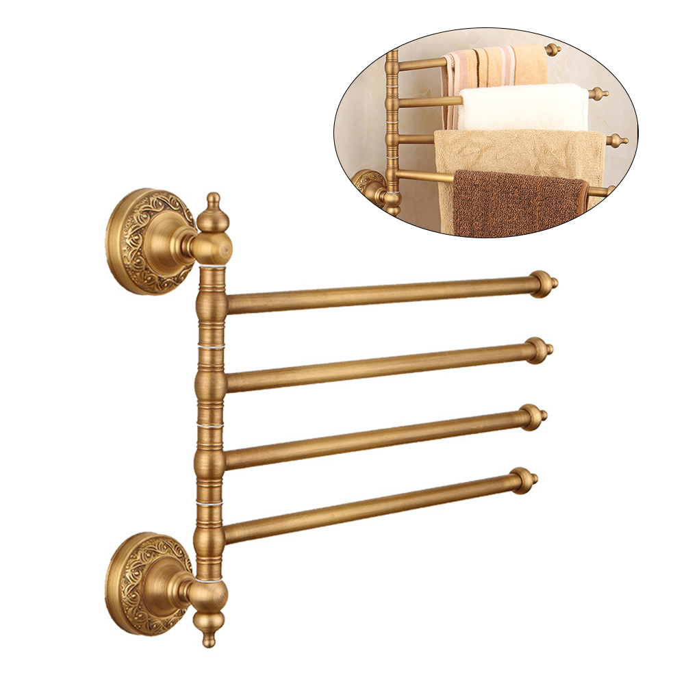 1 Pcs Copper Towel Rack Antique Brass Retro Rotatable Bathroom Shelf Towel Holder Towel Bar Bathroom