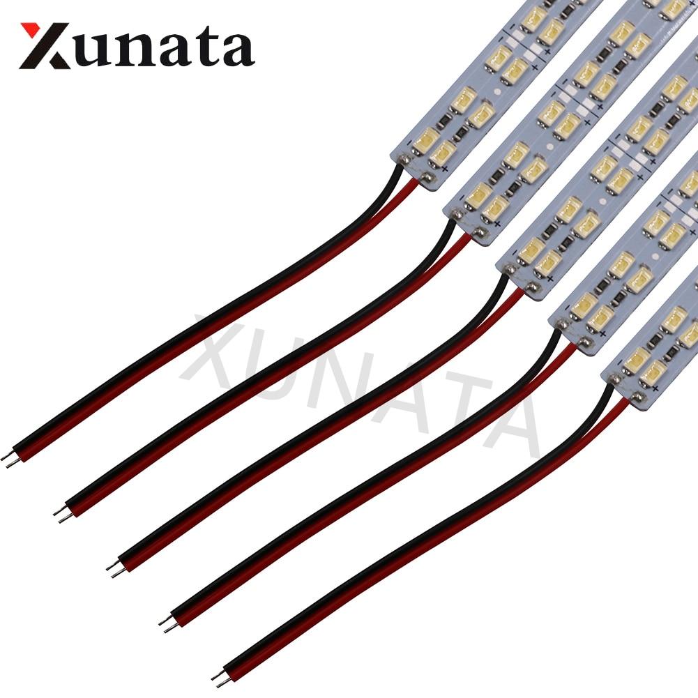 5630 Double Row LED Hard Bar Light Aluminium Rigid Strip Cool White 50cm 72LEDs 12V LED Light Lamp 5PCS