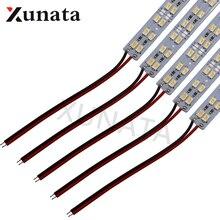 Barre lumineuse rigide, en Aluminium, Double rangée, 5630, bande de lampe rigide, 50cm, 72LED s, 12V LED, 5 pièces