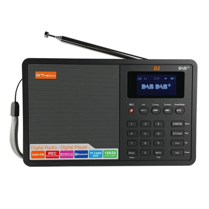 Récepteur stéréo de Radio FM Bluetooth DAB numérique Portable GTmedia D1 TFT réveil prise en charge du sommeil prise ue