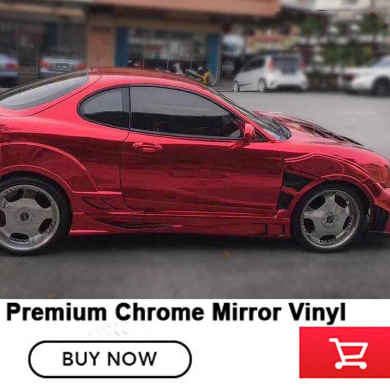 OPLARE rouge Chrome Miroir Vinyle Wrap Film Feuille De Décalque DIY De Voiture-styling Automobiles Corps Protéger Auto 1.52 m * 20 m Bulle D'air