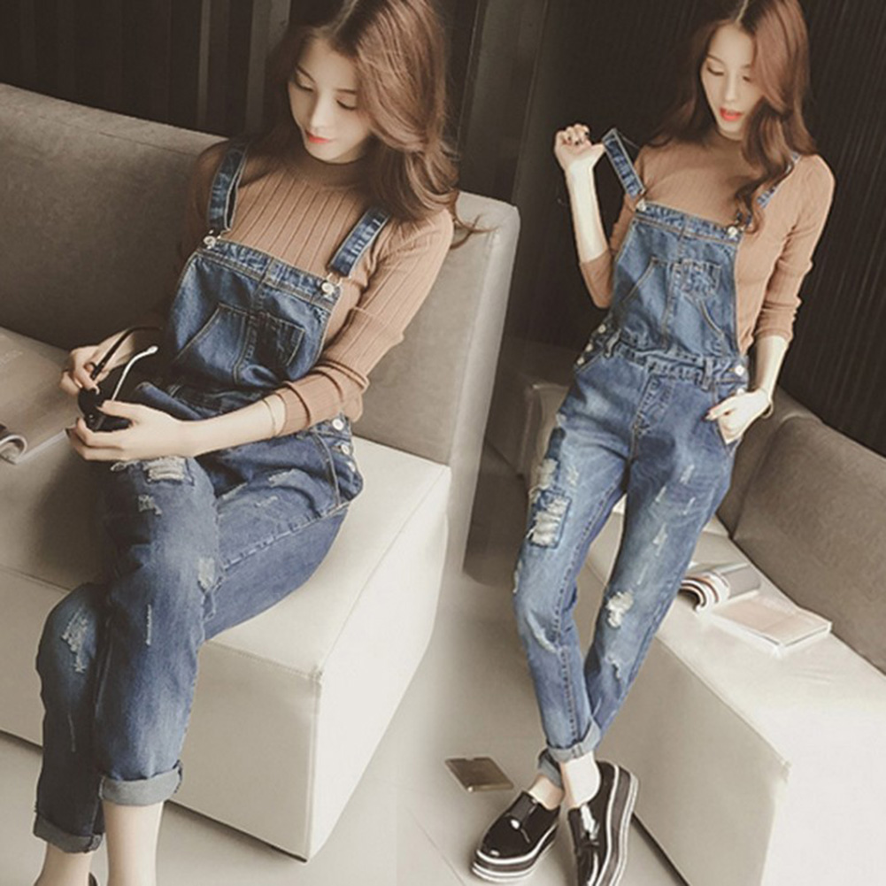 Women Denim Jumpsuit 2019  Ladies loose Jeans Rompers Plus Size 2XL Female Casual Hole Denim Overalls Jumpsuits With Pocket