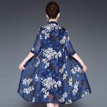 Spring Summer Middle Aged Women Vintage Flower Embroidered 2 Pieces Dresses Elegant Sand Collar Half Sleeve Vestido Plus Size недорого