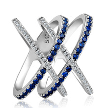 Rings for women Silver 925 Mood couple costume jewellery Cross X-shaped full set of blue diamond zircon King  ringenB2395