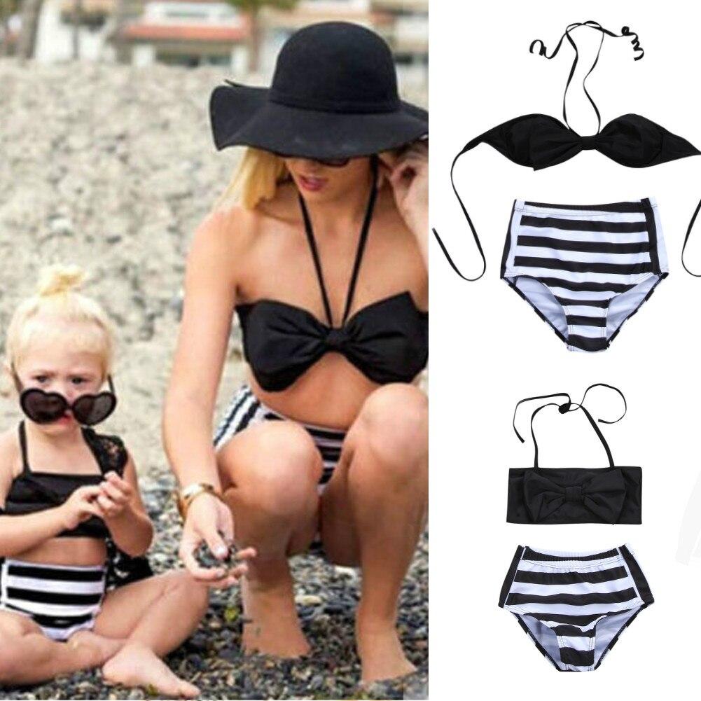 Mutter & Kinder Mutter Tochter Badeanzug Mama Und Mich Halter Striped Bademode Bikini Set 2019 Sommer Familie Passenden Badeanzug Bademode Ohne RüCkgabe