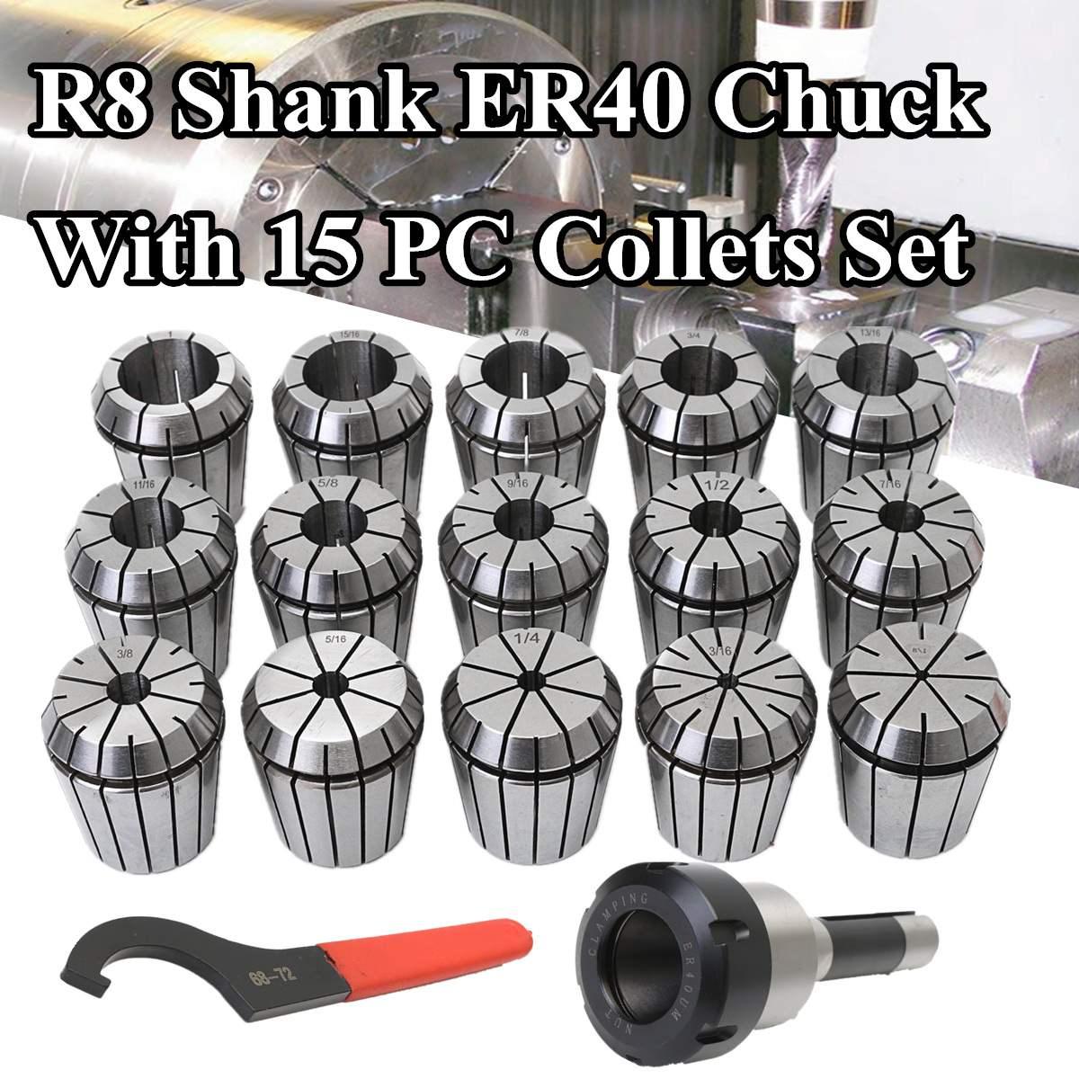 Precisions CNC Milling Lathe R8 Shank ER40 Collet Chuck Rod + 15Pcs ER40 Spring Collets Set Alloy Spring Steel