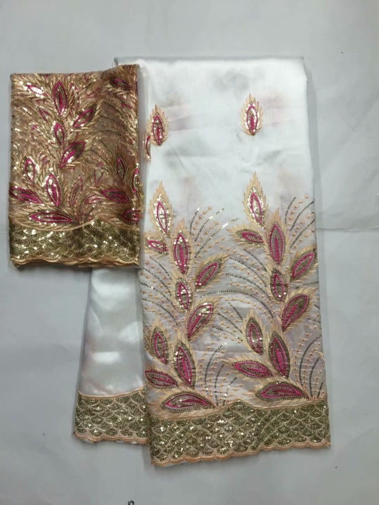 African George Lace Fabrics High Quality Nigerian Lace Fabric With the blouse For Wedding Beaded Lace