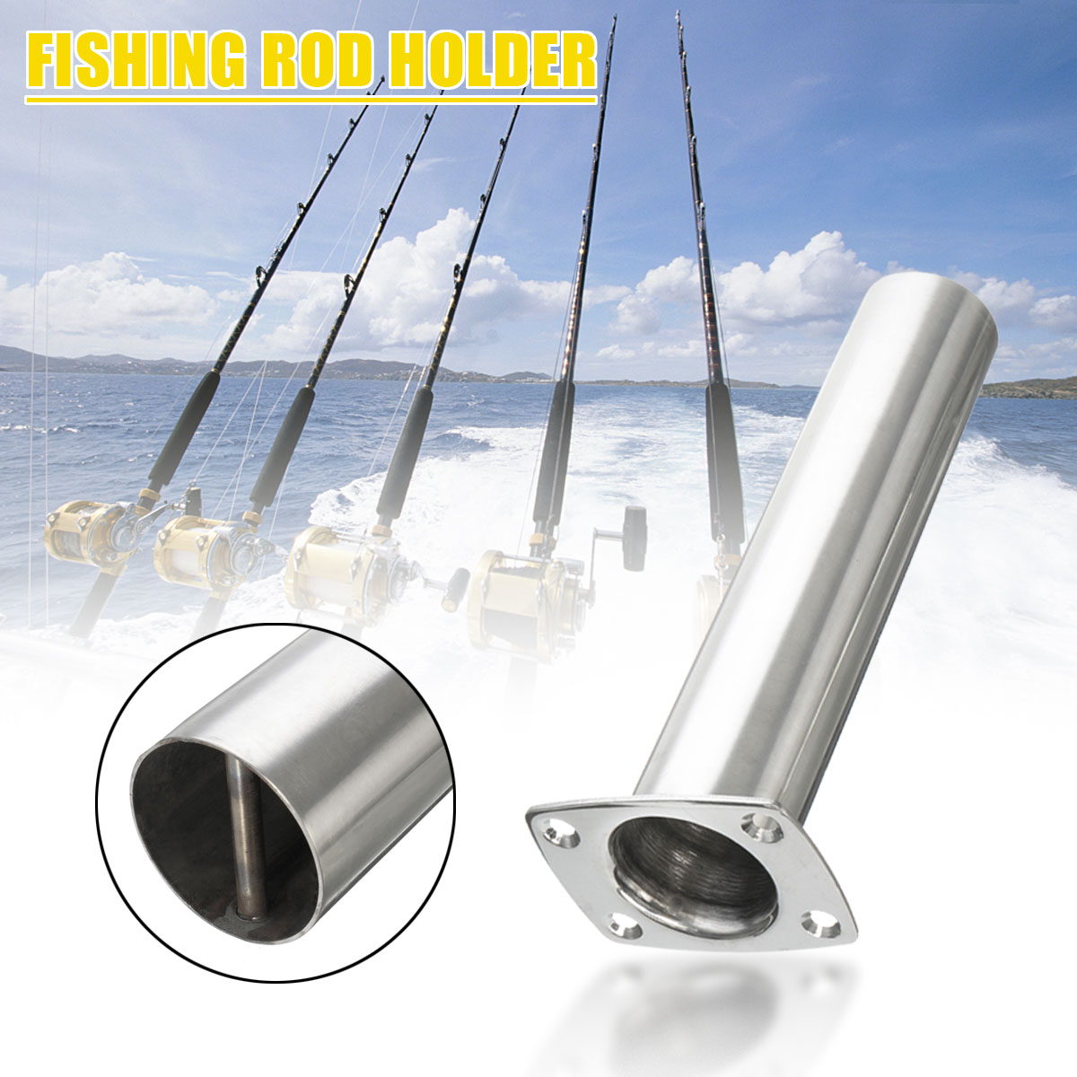 316 Stainless Steel Fishing Rod Pole Holder Flush Mount Polished 30 Degree 90 Degree Fishing Rod Holders For Marine Boat Yacht