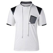 Patch Pocket Drawstring Neck T-shirt Mens Hot New Fashion Tops & Tees