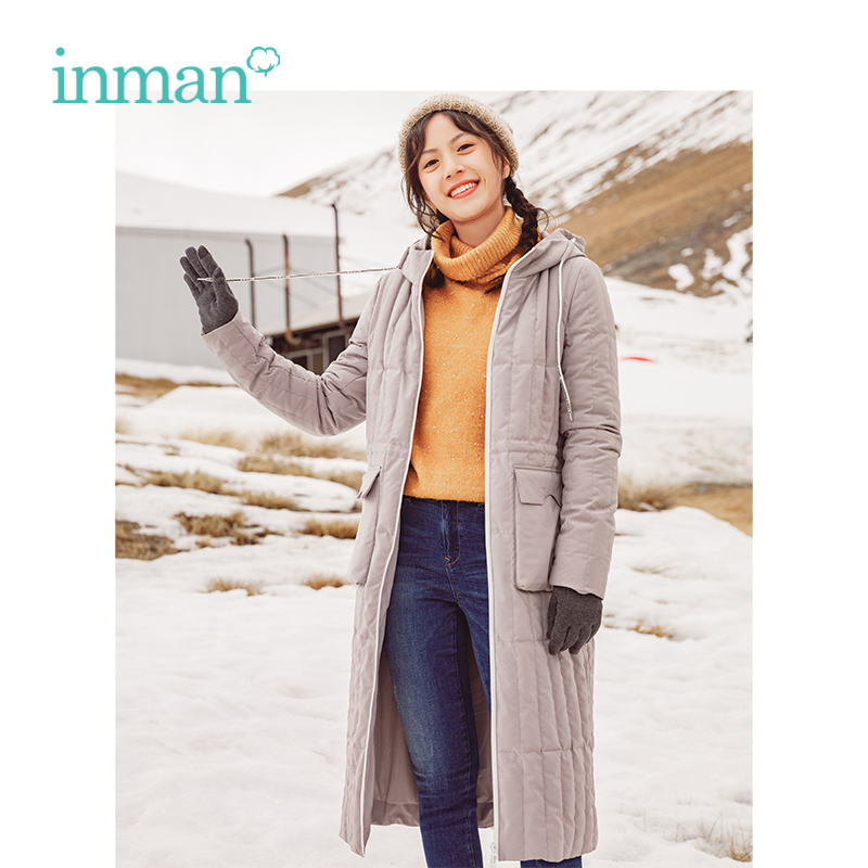 INMAN Winter New Arrival Female Hooded Warm Thin And Light  Long Section Woman Down Coat