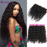 Shuangya hair Brazilian Deep Wave Lace Frontal With Bundles 100% Human Hair 3/4 Bundles With Closure Remy Bundles With Frontal