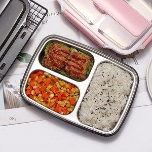 Image 1 - 304 stainless steel lunch box compartment lunch box rectangular adult 1 student male large capacity office worker female lunch