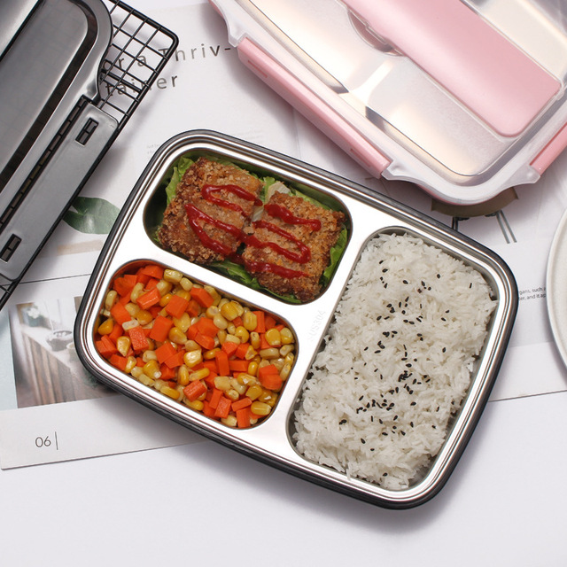 304 stainless steel lunch box compartment lunch box rectangular adult 1 student male large capacity office worker female lunch