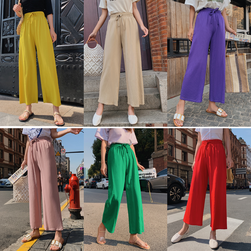 New Arrival Summer Elastic High Waist Women   Pants   Casual Loose Thin Straight   Wide     Leg     Pant   Streetwear Trousers 10 Candy Color