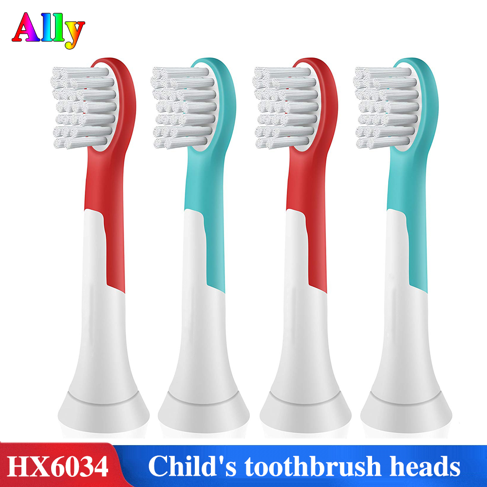 4PCS HX6034 For Philips Sonicare For Kids Replacement Toothbrush Heads HX6032 HX6042 HX6322 Child's Electric Toothbrush Heads