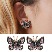 1Pair Colorful Rhinestone Inlaid Butterfly Butterfly Girls Beautiful Gold Color Piercing Metal Sweet Crystal Gifts Stud Earring pair of sweet butterfly rhinestone inlaid women s ear cuffs