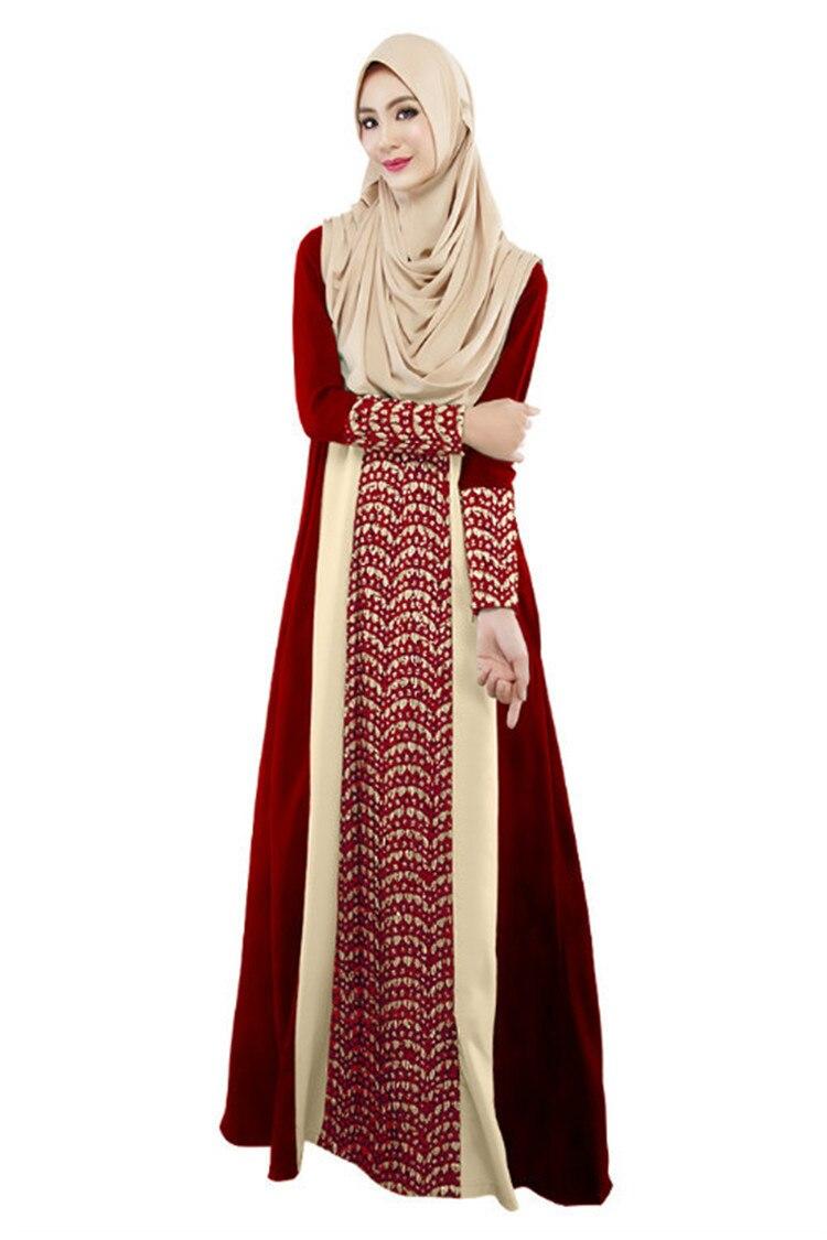 ZOGAA Fall New Slim Muslim Mosaic Fashion Long dress Indian-Pakistani Long Sleeve Dresses Ethnic Women's Wear