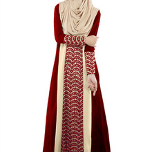 ZOGAA Fall New Slim Muslim Mosaic Fashion Long dress Indian-