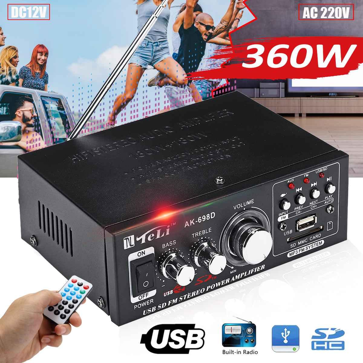 12V/ 220V HIFI Audio Amplificador Stereo Power 360W Car Amplifier FM Radio 2CH USB MP3 Home Theater Amplifiers w/ Remote Control