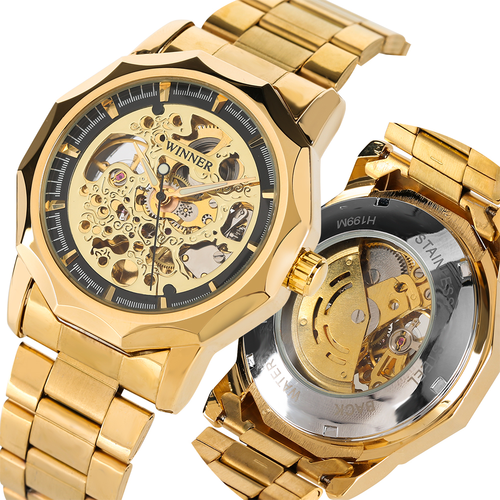 Automatic Mechanical Watches Stainless Steel Gold Band Mechanical Watch Business Skeleton Clock Top Brand Luxury montre homme