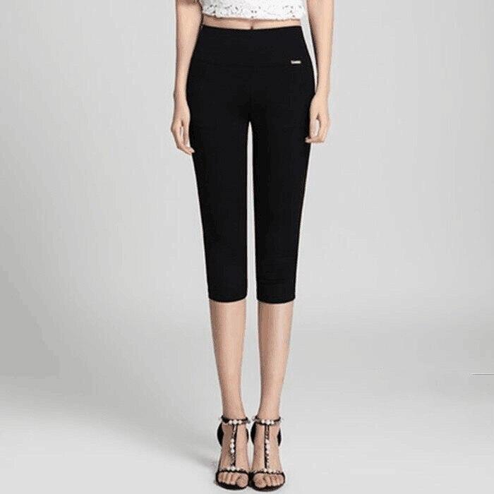 High Waist Stretch   Pants   Women Summer Fashion Skinny Calf Length Pencil   Pants   Casual   Capri   Female Plus Size 4XL